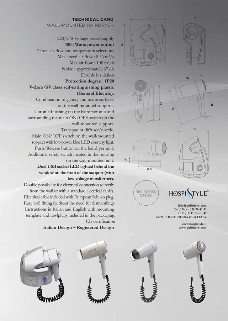 جدار محمولة مجفف الشعر بطاقة التقنية جيبلي EVo محور