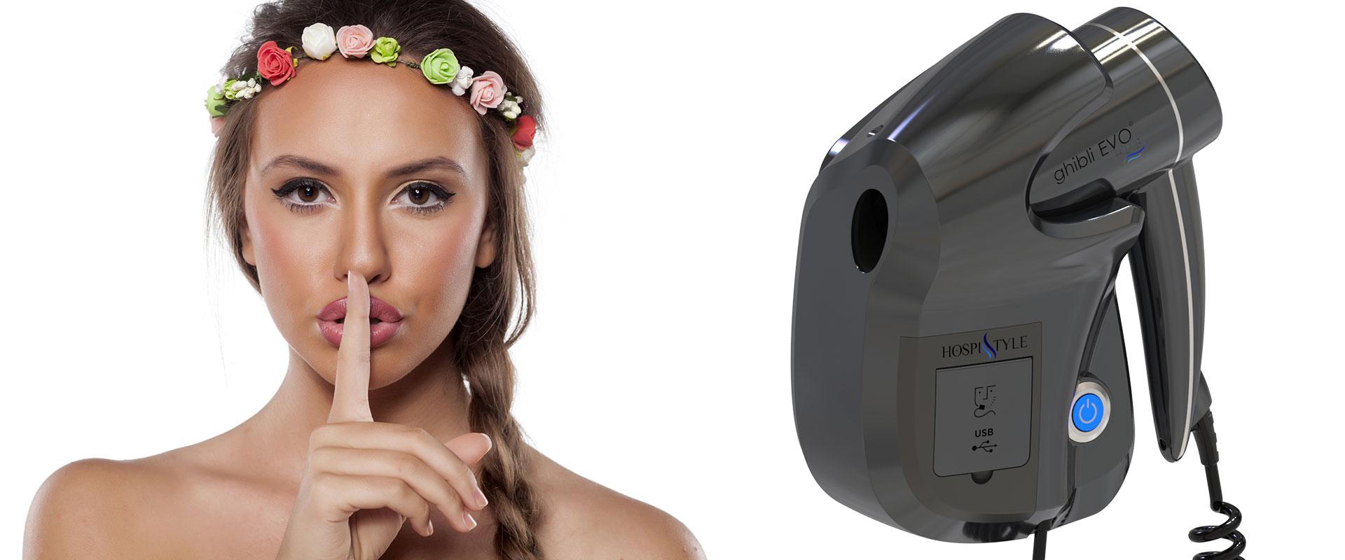 asciugacapelli silenzioso potente design italiano ghibli evo blu